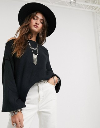 Free People main squeeze hacci jumper in black