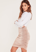 Missguided Pink Slinky Ruched Side Knee Length Skirt