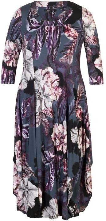 Chesca Floral Print Princess Seam Jersey Drape Dress