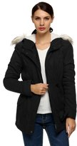 ACEVOG Women's Winter Warm Thickened Jacket Fur Hood Coat Parka Outwear