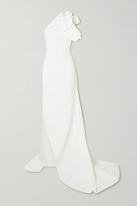Maticevski Indelible One-shoulder Ruffled Crepe Gown - White