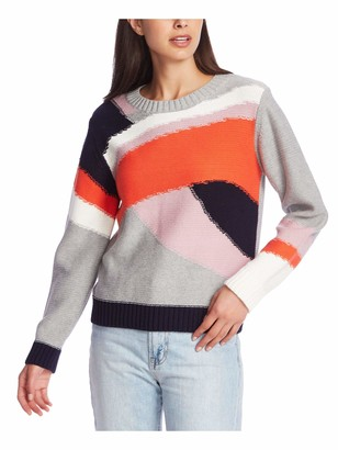 1 STATE Womens Orange Color Block Long Sleeve Jewel Neck Sweater Size: XS