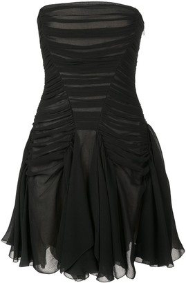 Vera Wang Ruched Strapless Mini Dress