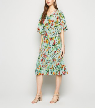 New Look Blue Vanilla Tropical Floral Midi Dress
