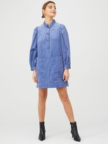 Whistles Chunky Cord Western Dress - Pale Blue