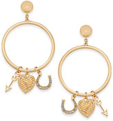 Thalia Sodi Gold-Tone Pavé Charm Drop Hoop Earrings, Created for Macy's