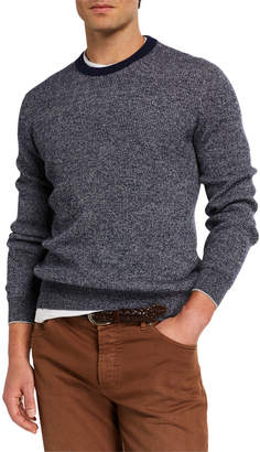 Brunello Cucinelli Men's Banded Crewneck Textured Cashmere Sweater