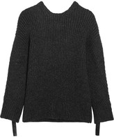 3.1 Phillip Lim Embellished Ribbed-knit Open-back Sweater - Charcoal