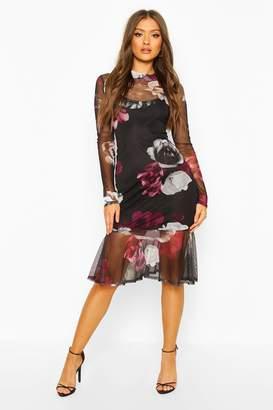 boohoo High Neck Floral Mesh Frill Hem Midi Dress