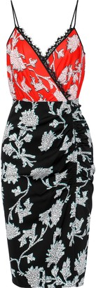 Diane von Furstenberg Ebony Wrap-effect Lace-trimmed Floral-print Crepe Dress