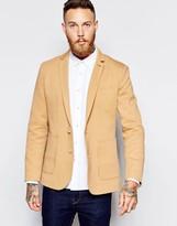 Asos Skinny Blazer In Jersey - Brown
