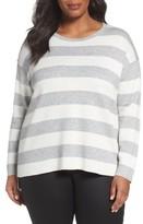 Eileen Fisher Plus Size Women's Stripe Organic Cotton Blend Top