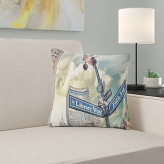 """5th Avenue LX East Urban Home Cityscape Library Way and Street Signs Pillow East Urban Home Size: 16"""" x 16"""", Product Type: Throw Pillow"""