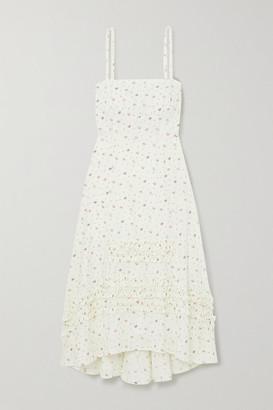 Molly Goddard Ruffled Floral-print Cotton Midi Dress - Cream