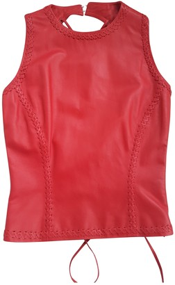 Gianni Versace Red Leather Top for Women