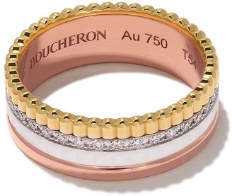 Boucheron 18kt rose, white and yellow gold Diamond Quatre White small ring