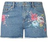 Dorothy Perkins Womens Mid Wash Floral Print Shorts- Blue