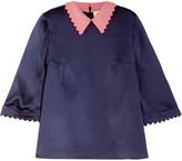 Roksanda Silk-seersucker Top - Midnight blue