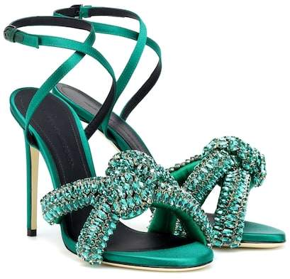Marco De Vincenzo Crystal-embellished satin sandals
