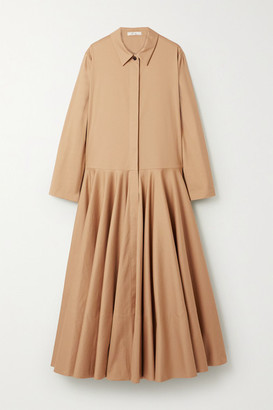 The Row Rey Oversized Pleated Cotton-twill Maxi Dress - Beige