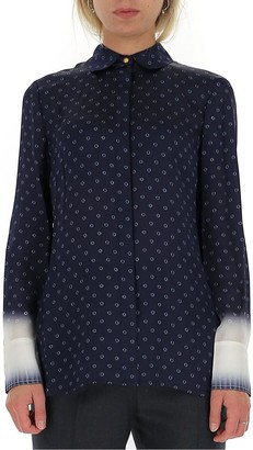 Tory Burch Leaf Printed Faded Cuff Effect Shirt