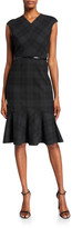 Elie Tahari Kaitlyn Plaid V-Neck Sleeveless Dress