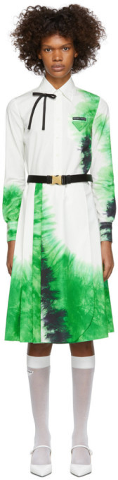 Prada White and Green Belted Tie-Dye Dress