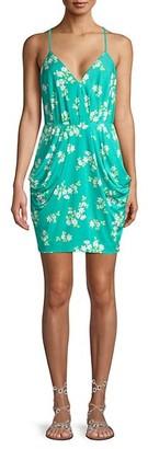 BCBGeneration Draped-Pocket Floral Dress