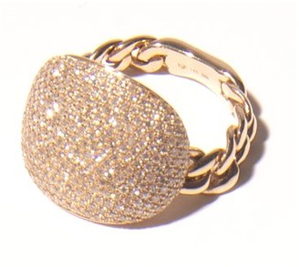 C'est Nuit Pave Diamond Chain Ring in Yellow Gold