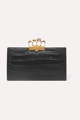 Alexander McQueen Knuckle Embellished Croc-effect Leather Clutch - Black