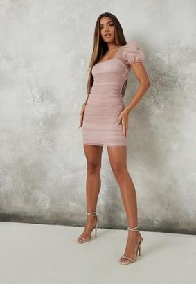 Missguided Pink Glitter Mesh Ruched Mini Dress