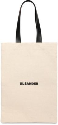 Jil Sander Printed Cotton Canvas Tote Bag