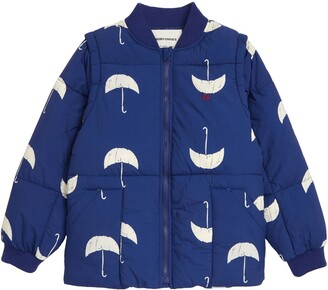 Bobo Choses Umbrella Print Convertible Organic Cotton Puffer Jacket