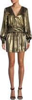 Frame Metallic Velvet Long-Sleeve V-Neck Mini Dress
