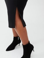 V By Very Curve Jersey Crepe Pencil Skirt - Black