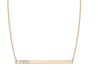 AUrate New York Gold Bar Necklace With Diamonds