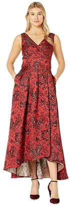 Alex Evenings Long Printed Ballgown with Tie Bow Detail (Red/Multi) Women's Dress