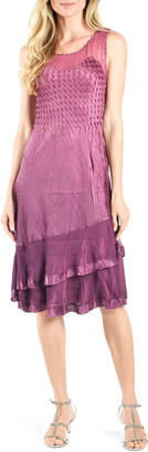 Komarov Tiered Sleeveless Satin & Chiffon Dress