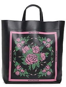 Balenciaga Women's Market Floral Leather Tote