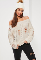 Missguided Cream Distressed Cable Off Shoulder Sweater