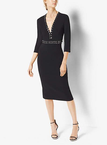 Michael Kors Grommeted Stretch-Cady V-Neck Sheath Dress