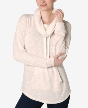 Ultra Flirt Juniors' Faux-Sherpa Lined Funnel Neck Sweatshirt