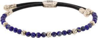 John Varvatos Lapis Silver Bead Bracelet