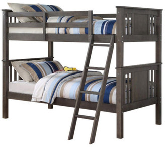 Donco Kids Graham Bunk Bed, Slate Gray, Twin Over Twin
