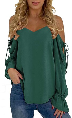 YOINS Women Cold Shoulder Tops Halter Neck Crossed Front Tshirts V Neck Floral Print Shirt Lantern Sleeves Blouse Navy S