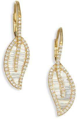 Anita Ko 18K Gold & Diamond Leaf Drop Earrings