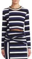 3.1 Phillip Lim Long Sleeve Stripe Crop Top