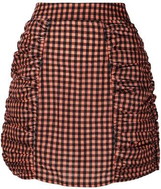 Ganni Ruched-Detailed Gingham Mini Skirt