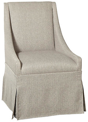 One Kings Lane Towsend Skirted Armchair - Silver Gray Linen