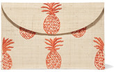 Kayu Pineapple Embroidered Woven Straw Clutch - Beige